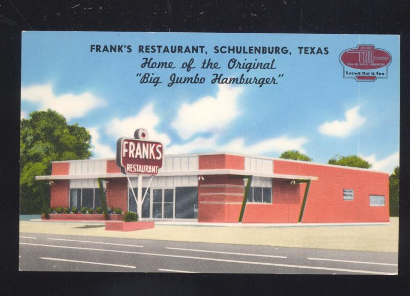 Schulenburg Texas Franks Restaurant Hamburger Old Advertising