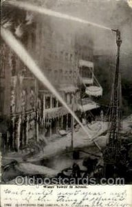 Water tower in Action, New York, USA Fire Related, Fire Departments 1906