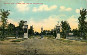 Hartford, CT, Entrance to Keney Park from Woodland Street, 1910 Postcard e5919