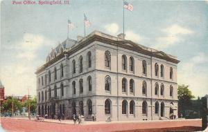 Springfield Illinois~Flags Fly Over Post Office~1911 Postcard