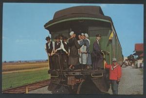 Amish People Strasburg Riding Train Postcard Pennsylvania Railroad