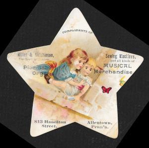 VICTORIAN TRADE CARD Miller Hutchinson Pianos Organs Die Cut