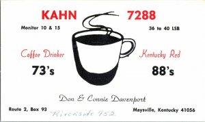 QSL Radio Card From Maysville Kentucky KAHN 7288