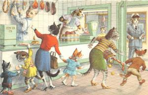 F61/ Alfred Mainzer Dressed Cat Animal Postcard c1940s Meat Market Interior 19