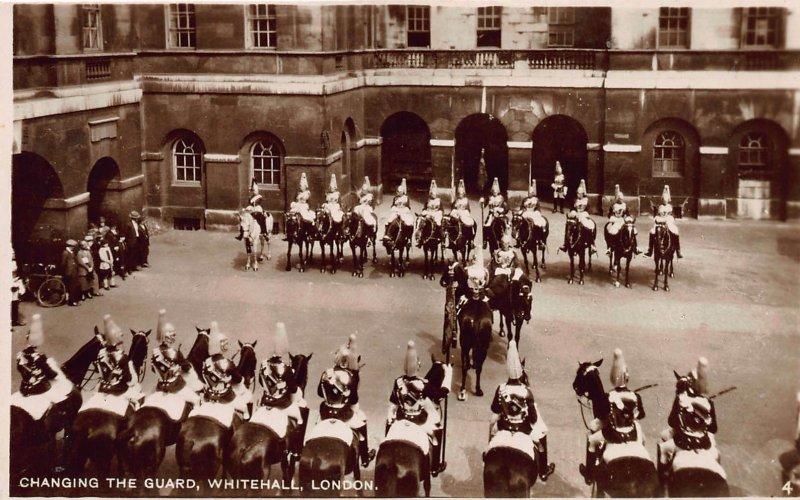 Changing The Guard, Whitehall, London, England, Early Real Photo Postcard