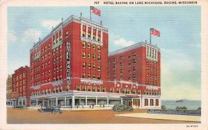 Hotel Racine on Lake Michigan, Racine, Wisconsin, Early Linen Postcard, Used