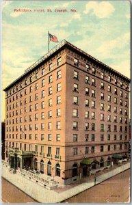 St. Joseph, Missouri Postcard RUBIDOUX HOTEL Building / Street View 1911 Cancel