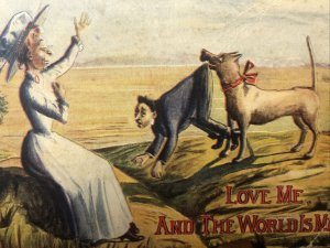 1914 LOVE ME And THE WORLD IS MINE Dog Carrying Man Postcard DB Artist H. Horina