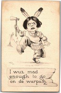On the Warpath Indian Boy Tomahawk Artist Bernhardt Wall Vintage Postcard A29