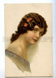 177484 HEAD of Woman BELLE Vintage Photochromie postcard