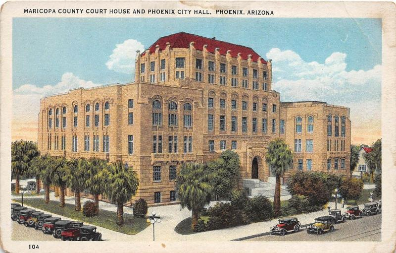 C27/ Phoenix Arizona Az Postcard c1910 Maricopa County Court House City Hall