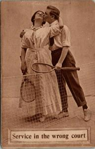 Sports Romance Pun~Service in the Wrong Court~Kiss over Tennis Court Net~1911