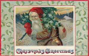 Gold suit Santa Claus carrying a tree and sack , 1909 ; CHRISTMAS