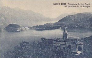 Italy Lagi di Como Panorama dei tre Laghi col promontorio di Bellagio