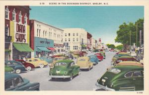 SHELBY, North Carolina; Scene in the Business District, Classic Cars, 30-40s