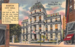 City Hall, Boston, Massachusetts, Early Linen Postcard, Used in 1944