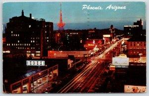 Phoenix AZ~Ed Spear Dodge Plymouth Car Dealer Showroom~Neon Night Lights~1962