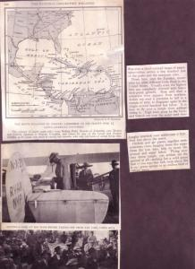 (1) Map, (2) VintaMagazine, Clippings Of Lindbergh's Flight over Central America