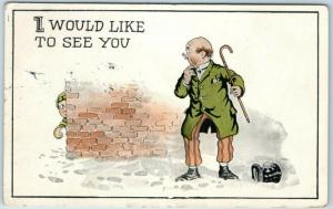 1916 Comic Postcard Man in Top Hat Hit by Snow Ball I WOULD LIKE TO SEE YOU