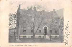 Camden New Jersey Republican Club Street View Antique Postcard K31494