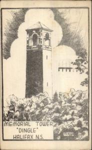 Halifax Nova Scotia Memorial Tower Dingle 1940s Postcard
