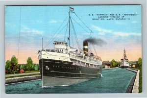 Sault Ste Marie Ontario Canada, SS Huronic And SS Assiniboia, Linen Postcard