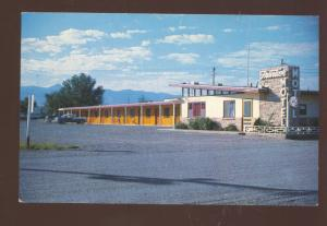 CARRIZAZA NEW MEXICO FRONTIER MOTEL 1950's CARS VINTAGE ADVERTISING POSTCARD