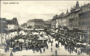Zagreb Croatia Busy Street Scene c1910 Real Photo Postcard