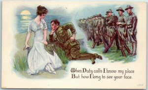 1910s WWI Postcard When Duty Calls I Know My Place… Illustrated PC Series 1362