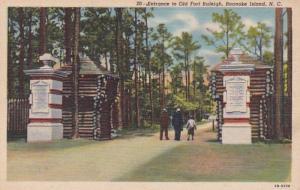 North Carolina Roanoke Island Entrance To Old Fort Raleigh 1950 Curteich