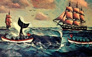 Fishing Whaling Scene Painting By Cap'n Ellery F Thompson Of Mystic Conn...