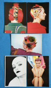 Set of 5 Postcards, PARIS 1984-86, Coiffure Hair Hairstylist Jean-Philippe Page