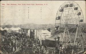 Ferris Wheel & Crowd - Syracuse NY State Fair c1910 Postcard