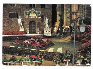 Italy Florence Piazza Della Signoria Flower Exhibition Night Vntg 4X6 Postcard