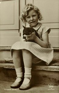 norway, Princess Astrid with Cat (1930s) RPPC Postcard