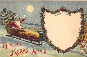 Red Suited Santa Claus on Sled Christmas  H-T-L Look Thru Postcard
