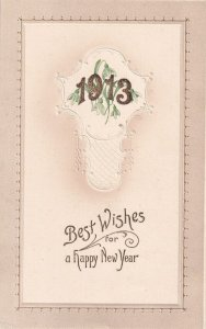 NEW YEAR, 1913; Gold numbers over Flowers