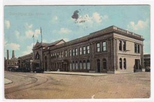 Union Railroad Depot Des Moines Iowa  1911 postcard