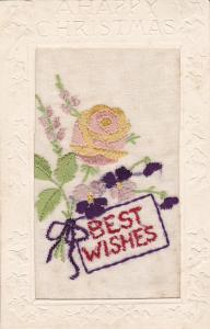 Embroidered ; TUCK; Broderie D´Art, Christmas, Best Wishes, Pink & Yellow Flow