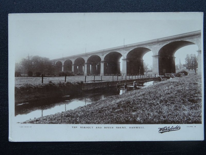 London Middlesex Ealing HANWELL The Viaduct & River Brent c1930s RP Postcard