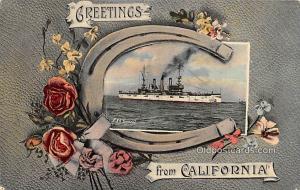 Greetings from California Military Battleship 1908 writing on back
