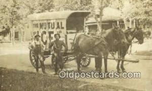 The Mutual Ice, Real Photo Horse Drawn Advertising Postcard postcards  The Mu...