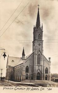 F25/ Mt Angel Oregon RPPC Postcard c1910 Parish Church Building Drake