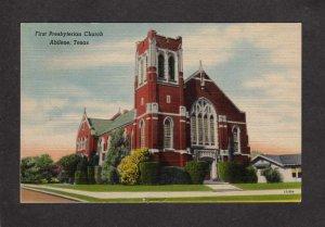 TX First Presbyterian Church Abilene Texas Postcard Linen
