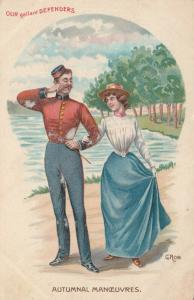 AS; G. ROB,  1900-10s; Soldier & Lady, Autumnal Maneuvers
