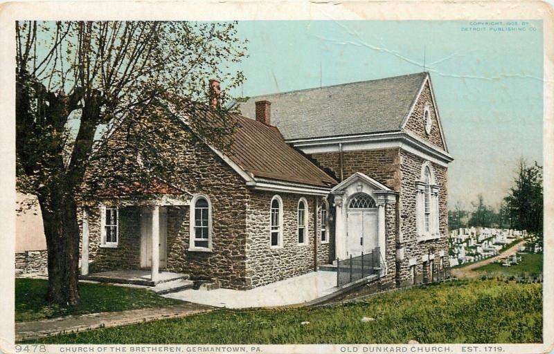 Germantown PA~Brethren Church~Old Dunkard Church~Graveyard~1910 Detroit Pub Co