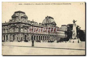Old Postcard Paris 1st Louvre Museum and Monument Gambetta