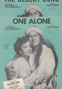 One Alone The Desert Song 2x 1940s Sheet Music s