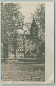 Alburnette IA Here Is Where I Go Now~Old Victorian High School w/Tower~RPPC 1910