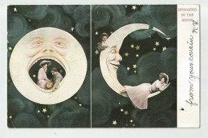 POSTCARD ~ Fantasy Romance ~ SPOONING IN MOON ~ Man In Moon~ Mailed 1907 Germany
